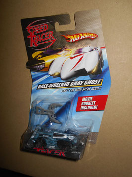 スピード・レーサー HOT WHEELSミニカー  「RACE-WRECKED GRAY GHOST」Street Car w/ Soear Hooks  1:64