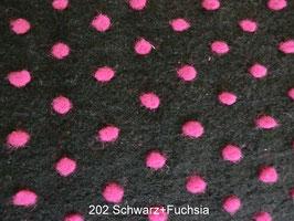 Wollstoff mit Punkten -202 Schwarz+Fuchsia-