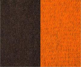 Walkloden Double-Face -Dunkelbraun+Orange-