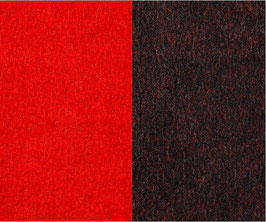 Walkloden Double-Face -Rot+Schwarz-