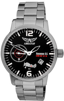 AVIATOR Kokkinaki wristwatch, hand winding, VOLMAX, stainless steel, bracelet, Ø45mm