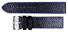 POLJOT 22mm Lederarmband, schwarz, feine blaue Steppnaht, gebürstete, Dornschließe