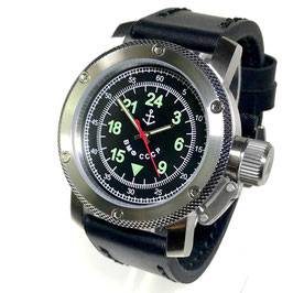 "24hr watch ""Russian Navi"" by TRIUMPH, stainless steel, fein brushed, 100m waterproofed, ø47mm"