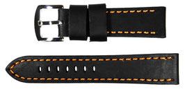 STRONG 22mm Fliegerarmband, Kalbsleder, schwarz, orange gesteppt, polierte Dornschließe, Italien
