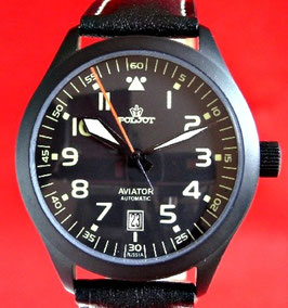 AVIATOR automatic watch POLJOT, stainless steel, Black PVD coated, ø40mm