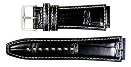 POLJOT 22mm leather strap, black, white stitching, brushed buckle with POLJOT logotype
