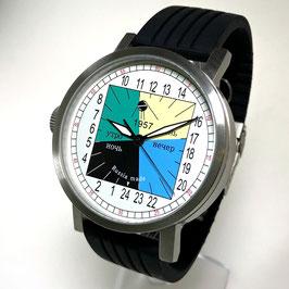 """Automatic 24hr watch """"NEW SPUTNIK 1957"""", model """"DAY TIME""""by POLJOT SPUTNIK, stainless steel, brushed, ø50mm"""