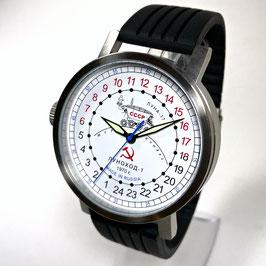 "Automatic 24hr wrist watch ""NEW SPUTNIK 1957"", model ""LUNAKHOD-1""by POLJOT SPUTNIK, stainless steel, brushed, ø50mm"