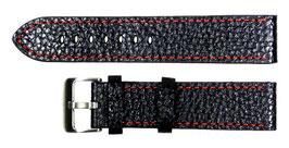 POLJOT 22mm leather strap, black, fine orange stitching, brushed buckle