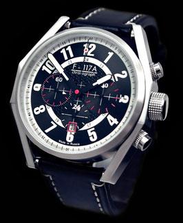 "Chronograph ""NIGHT HAWK"" von Umnyashov, Handaufzug, Edelstahl, poliert, ø47mm"