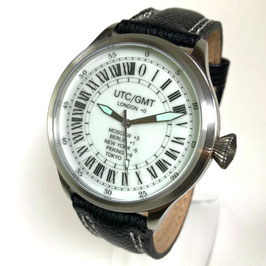 "Russian 24hr watch ""GREENWICH"" by TRIUMPH with VOSTOK movement und luminous dial, stainless steel, fein brushed, ø45mm"