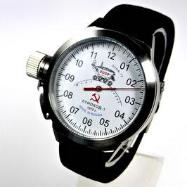 """AUTOMATIK Einzeiger-Uhr """"LUNACHOD-1"""" von POLJOT SPUTNIK, Edelstahl, gebürstet, ø45mm"""