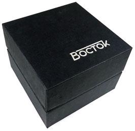 Originale Box für KOMANDIRSKIE und AMPHIBIA Uhren von der Uhrenmanufaktur VOSTOK, Karton, 2018