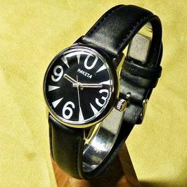 """Wristwatch """"With ZERO""""byRAKETA black, hand-wound, chromeplated,polished, ø34mm"""