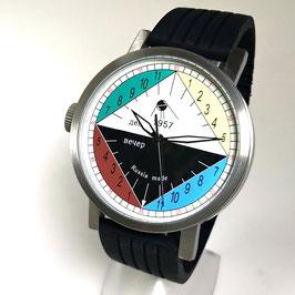 """Automatic 24hr watch """"NEW SPUTNIK 1957"""", model """"DAY & NIGHT""""by POLJOT SPUTNIK, stainless steel, brushed, ø50mm"""