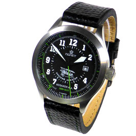 "Automatic pilot watch ""RUSSKI AVIATOR KOZAKOV"" by POLJOT, stainless steel, brushed, ø44mm"