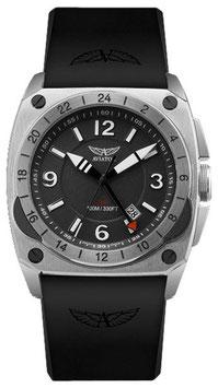"""Fliegeruhr Aviator """"MIG-29 GMT"""" Volmax, Saphire-Glas, Swiss Made, zusätzliche 24-STD.-Zeitanzeige, Edelstahl, ø45mm"""