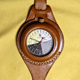 """24hr watch """"OUTDOORDAY TIMES""""by POLJOTSPUTNIK with hand made bronze case for outdoor activities, Ø57mm"""