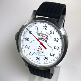 "Automatic one hand wrist watch ""NEW SPUTNIK 1957"", model ""LUNAKHOD-1""by POLJOT SPUTNIK, stainless steel, brushed, ø50mm"