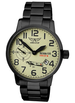 AVIATOR Gastello watch manual winding, VOLMAX, stainless steel, black PVD coated, black bracelet, Ø45mm