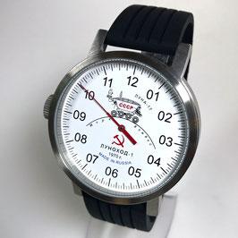 """Einzeiger-Automatikuhr """"NEW SPUTNIK 1957"""", Modell """"LUNACHOD-1"""" von POLJOT SPUTNIK, Edelstahl, Glasboden, gebürstet, ø50mm"""