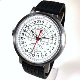 "Automatic 24hr watch ""NEW SPUTNIK 1957"", model ""POLAR""by POLJOT SPUTNIK, stainless steel, brushed, ø50mm"