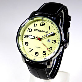 "Wrist watch ""SPECNAS ATAKA"" by SLAVA, quartz, stainless steel, polished, ø45mm"