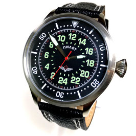 "Russian 24hr pilots watch ""PILOT"" by TRIUMPH with RAKETA movement, stainless steel, fein brushed, ø45mm"