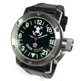 """""""Russische Kriegsmarine"""" - 24-Std.-Armbanduhr von TRIUMPH MIT VOSTOK - Werk, Handaufzug, Edelstahl, ø47mm"""