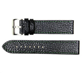 POLJOT 22mm leather strap, black, fine green stitching, brushed buckle