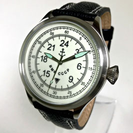 "Russian 24hr pilots watch ""NAVY"" by TRIUMPH with RAKETA movement, stainless steel, fein brushed, ø45mm"