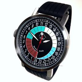 "Automatic 24hr watch ""NEW SPUTNIK 1957"", model ""SPUTNIK""by POLJOT SPUTNIK, stainless steel, brushed, ø50mm"