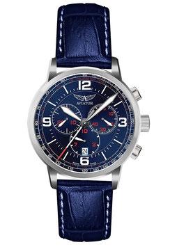 "Chronograph ""Aviator KINGCOBRA"" Volmax, Swiss Made, 1/10 Sek., Saphirglas, Edelstahl, fein gebürstet, ø45mm"