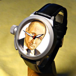 "Automatic watch ""President Putin"" by POLJOT SPUTNIK, hand painted, stainless steel, satin finished, ø45mm"