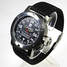"24 hour wrist watch ""US NAVY"" by TRIUMPH, stainless steel, fein brushed, glass bottom, 300m waterproofed, ø47mm"