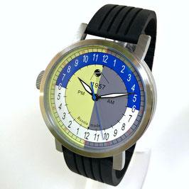 "Automatic 24hr watch ""NEW SPUTNIK 1957"", model ""AM/PM""by POLJOT SPUTNIK, stainless steel, brushed, ø50mm"