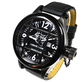 "Automatic diver watch ""FROGMAN"" by POLJOT SPUTNIK, stainless steel, black PVD coated, ø50mm"