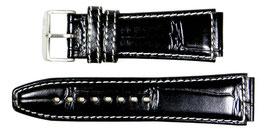 POLJOT 22mm Lederarmband, schwarz, weiß gesteppt, Struktur: Naturleder, gebürstet Dornschließe mit POLJOT-Logo