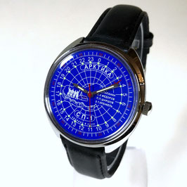 Russian 24hr watch ARCTICA NORTH POLE 1 by TRIUMPH with VOSTOK movement, chrome plated, polished, ø39mm