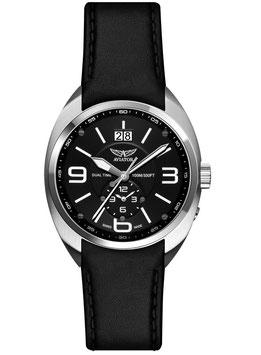 "Armbanduhr Aviator ""MIG-21 FISHBED"" Volmax, Dual Time, Saphire-Glas, Swiss Made, Edelstahl, fein gebürstet, ø42mm"