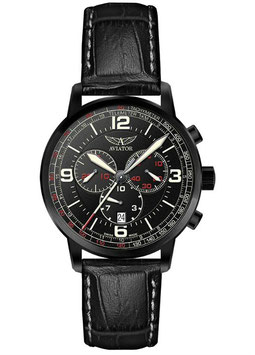 """Chronograph """"Aviator KINGCOBRA"""" Volmax, Swiss Made, 1/10 Sek., Saphirglas, Edelstahl, schwarz PVD beschichtet, ø45mm"""
