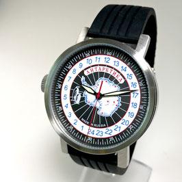 "Automatic 24hr watch ""NEW SPUTNIK 1957"", model ""ANTARCTICA""by POLJOT SPUTNIK, stainless steel, brushed, ø50mm"