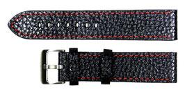 POLJOT 22mm Lederarmband, schwarz, feine orangefarbene Steppnaht, gebürstete, Dornschließe