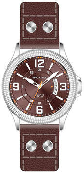 "Beautiful Russian wrist watch ""SPUTNIK"", open date, quartz, stainless steel, polished, ø42mm"
