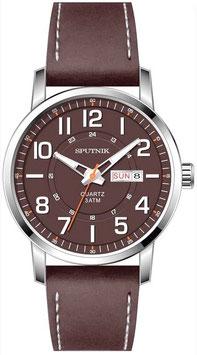 Russische Armbanduhr SPUTNIK, Day & Date, Quarz, verchromt, poliert, ø42mm