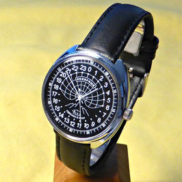 "Polar watch ""ARCTICA"" - 24hr-watch by RAKETA, , black, white hands, ø39mm"