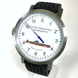 """Automatik - Einzeigeruhr """"U-Boot Dmitri Donskoi"""" von POLJOT SPUTNIK, Edelstahl, Glasboden, gebürstet, ø50mm"""