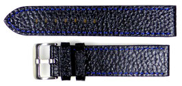 POLJOT 22mm leather strap, black, fine blue stitching, brushed buckle