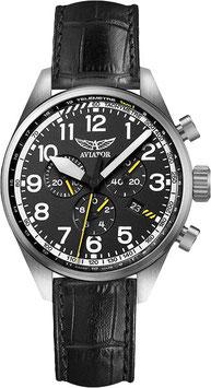 Russische Fliegeruhr Chronograph AVIATOR AIRACOBRA P45 CHRONO Quarz, Saphirglas, Volmax, Swiss Made, Edelstahl, ø45mm