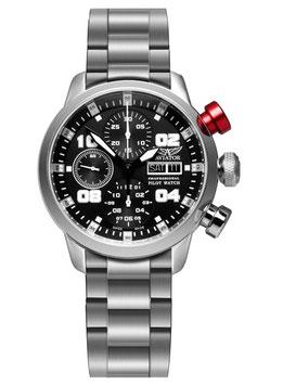 Fliegeruhr Chronograph AVIATOR POFESSIONAL, Automatik, Saphirglas, Volmax, Swiss Made, Edelstahl, ø42mm